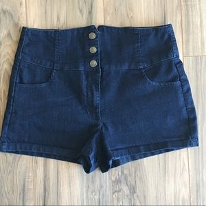 Pants - Forever 21 High Waisted 3 Button Up Jean Shorts